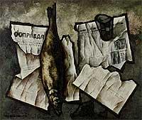 "Оскар Рабин. Натюрморт с рыбой и газетой ""Правда"". Oscar Rabin. Still life with fish and the ""Pravda""(1968)"