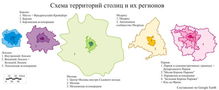 Схема территорий столиц и их
